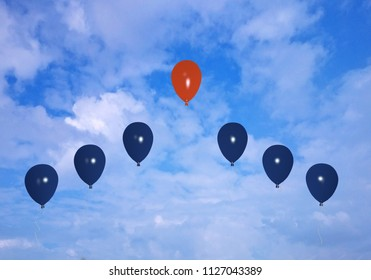 Red air balloon stands out from blue. With cloud sky, 3d rendering