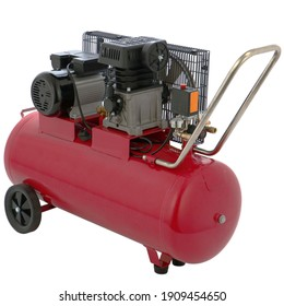 red air compressor isolated on a white background