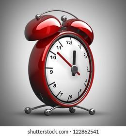 Red alarm clock 3d. High resolution 3d render