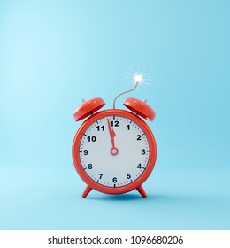 Red alarm clock bomb on pastel blue background. Creative idea. minimal concept