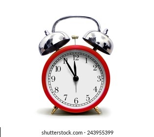 Red Alarm Clock isolated on White