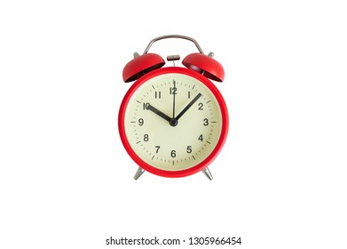 Red alarm clock on the isolated white background