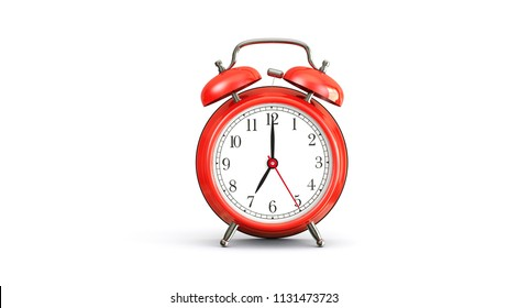 red alarm clock on white background at 7 oclock