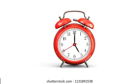 red alarm clock on white background at 5 oclock