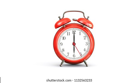 red alarm clock on white background at 6 oclock