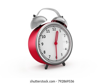Red alarm clock show 12 hours and 30 minutes. 3d rendering isolated on white background