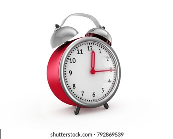 Red alarm clock show 12 hours and 15 minutes. 3d rendering isolated on white background