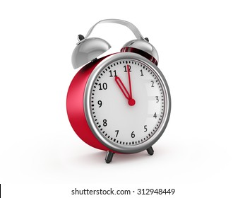 Red alarm clock shows eleven o'clock. 3d render isolated on white background