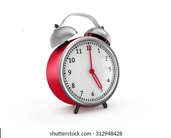 Red alarm clock shows five hours. 3d render isolated on white background