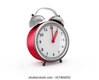Red alarm clock shows one hour. 3d render isolated on white background