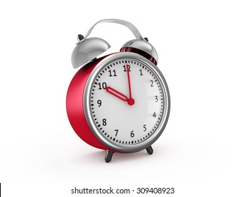 Red alarm clock shows ten hours. 3d render isolated on white background
