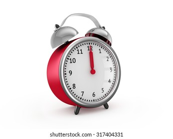 Red alarm clock shows twelve o'clock. 3d render isolated on white background