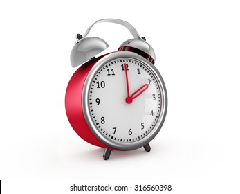 Red alarm clock shows two hours. 3d render isolated on white background