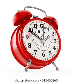 Red alarm clock with a smiling face isolated on white background. 3D illustration.