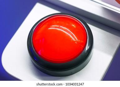 Red alarm round vintage button