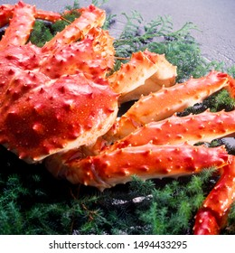 Red Alaskan king crab isolated in white background,Norwegian Japanese Taraba King Crab