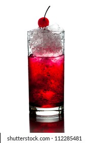 Red Alcoholic Cocktails with ice mint and cherry on white background