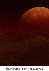 Red Alien Planet - 3D Rendered Computer Artwork