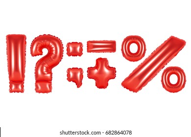 red alphabet balloons, punctuation marks, red number and letter balloon
