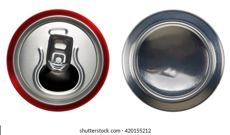 Red aluminium open can and bottom can.