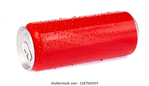 red aluminum cans with fresh water drops isolated from white background.