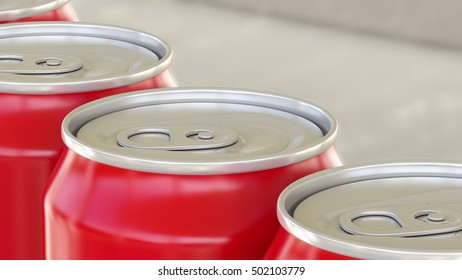 Red aluminum cans on industrial conveyor. Soda or beer production line. Recycling ecologic packaging. 3D rendering