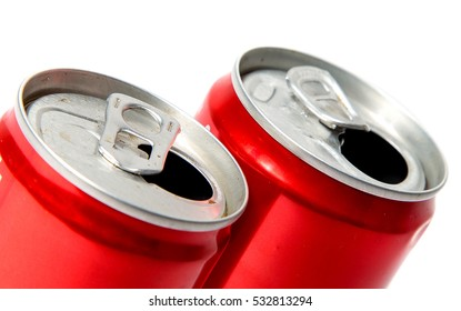 red aluminum soda can on white background