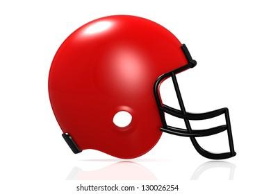Red American football helmet.