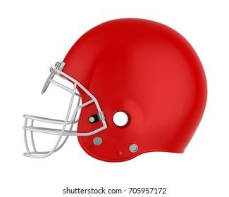 Red American Football Helmet Isolated. 3D rendering