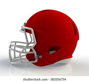 Red american football helmet side view on a white background with detailed clipping path, 3D rendering