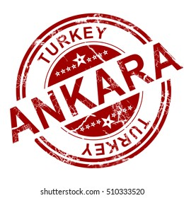 Red Ankara stamp with white background, 3D rendering