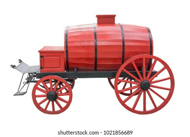 red antique barrel for transportation of liquids on white background. Isolated