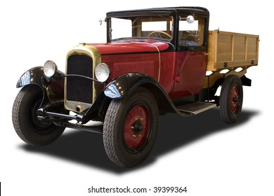 A Red Antique Truck Isolated on White