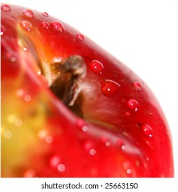 a red apple with big water drops