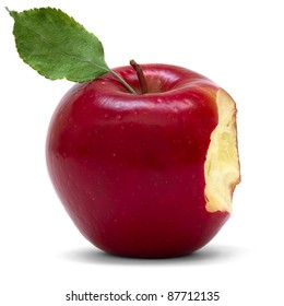 red apple with bite