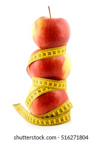 red apple with centimeter isolated on white background diet snack vegetarian