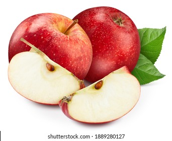 Red apple Clipping Path. Ripe apple fruit with green leaf isolated on white background with clipping path. Apple fruit macro studio photo