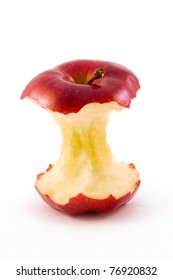 red apple core isolated on a white background