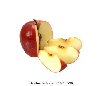 Red apple with the cut off three shares on a white background.