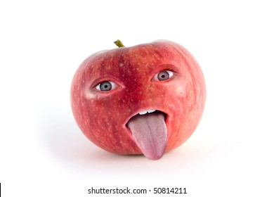 red apple with face