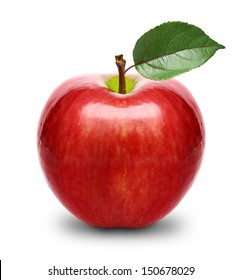 Red apple fruit with leaf isolated