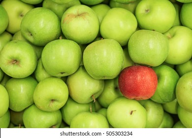 red apple and green apples.