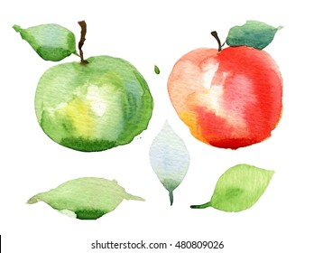 Red apple, green apple. Isolated set. Watercolor apple.