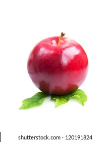 Red apple with green leaves on a white background