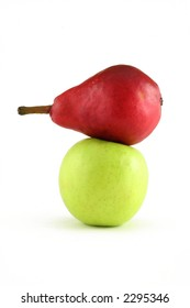 red apple and green pear isolated on white