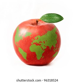red apple with green world map, isolated on white background