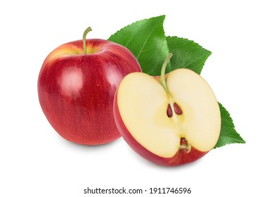 Red apple with half isolated on white background with clipping path and full depth of field