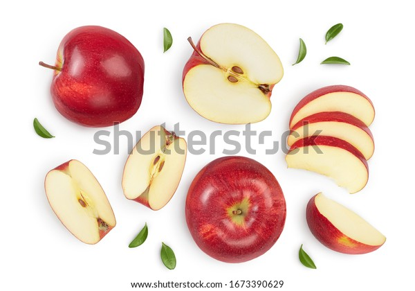 Red apple with half isolated on white background with clipping path and full depth of field. Top view. Flat lay. Set or collection