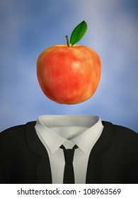 Red apple as head
