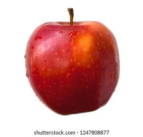 Red apple isolated on a white background with clipping paths for graphic design.Fruits in cold country are popular around the world.Another health food that has many nutrients.